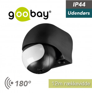 Goobay Outdoor PIR Sensor, sort, 12m IP44 (96000)